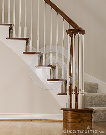 Oak wood and carpet staircase