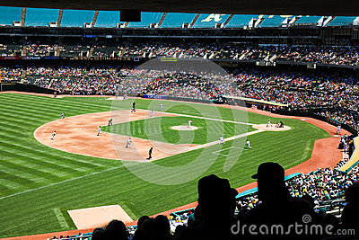 Oakland Coliseum Baseball Stadium Fans at a Day Game