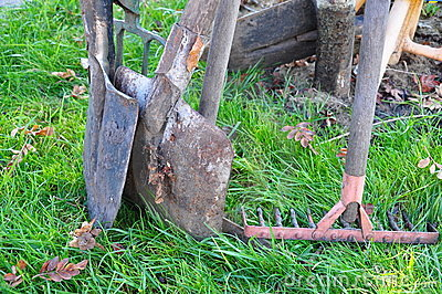 Oars and fork on grass