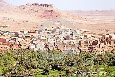Oasis en el desierto en Marruecos