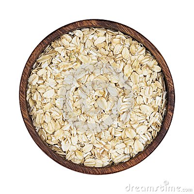 Free Oat Flakes In Wooden Bowl Isolated On White Background. Top View Royalty Free Stock Photo - 105193155