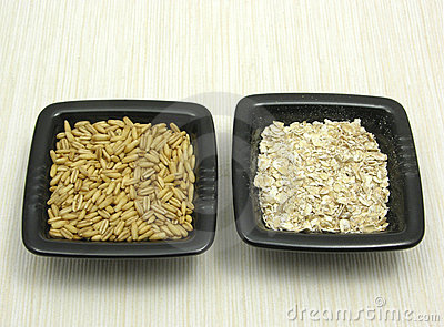 Oat and porridge on beige placemat