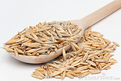 Oat  with a wooden spoon