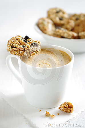 Free Oatmeal Cookie With Coffee Royalty Free Stock Photo - 66578645