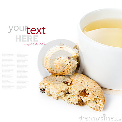 Free Oatmeal Cookie With Raisins And Cup Of Green Tea On  White Backg Royalty Free Stock Photography - 33055107
