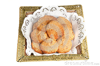 Oatmeal cookies in a basket