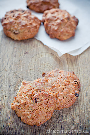 Oatmeal cookies on a board