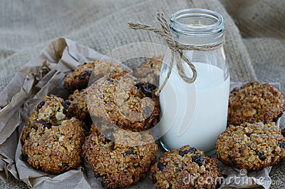 Oatmeal cookies and bottle of milk on canvas