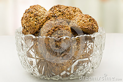 Oatmeal cookies in a crystal vase