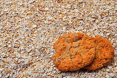 Oatmeal Cookies and Oatmeal with Copy Space