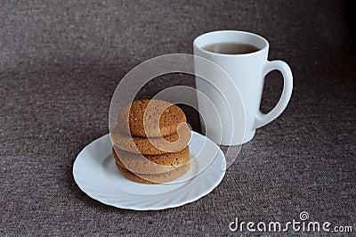 Oatmeal cookies and tea
