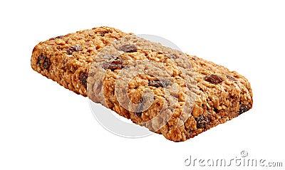 Oatmeal Raisin Cereal Bar Isolated on white