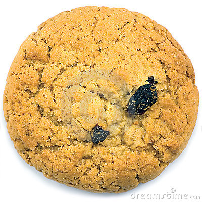 Oatmeal raisin cookie macro closeup isolated