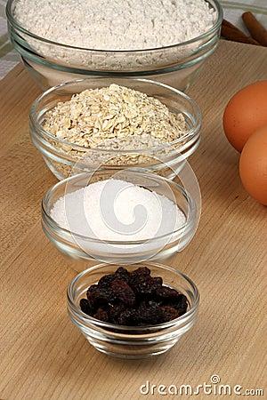 Oatmeal and raisins cookies ingredients