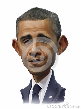 Obama Caricature portrait Editorial Photography