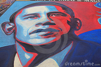 Obama in Chalk Editorial Stock Photo