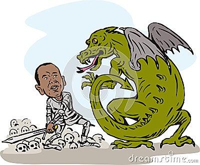 Obama fighting a dragon Editorial Photo