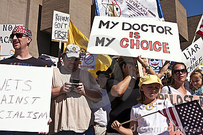 Obama Healthcare Demonstration Opponents Editorial Image