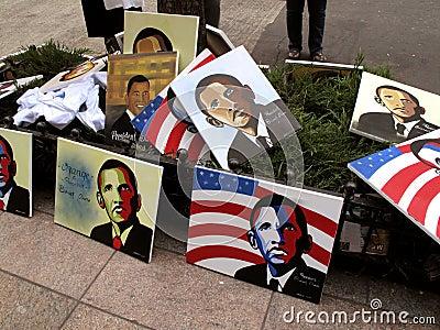 Obama Portraits Editorial Stock Image