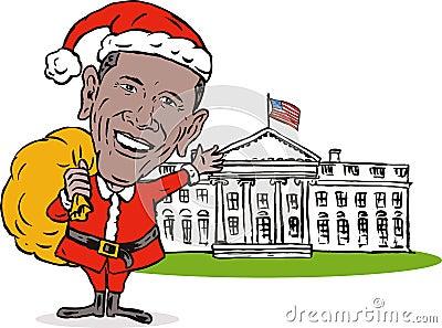 Obama Santa Claus white house Editorial Photo