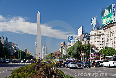 Obelisk and 9 de Julio Avenue in Buenos Aires Editorial Photography