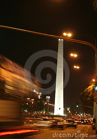 Free Obelisk, Night Traffic Stock Image - 1704361