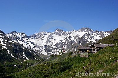 Oberglaneggalm with Oetztal Alps (South Tyrol)