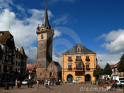 Obernai town center, Alsace, France