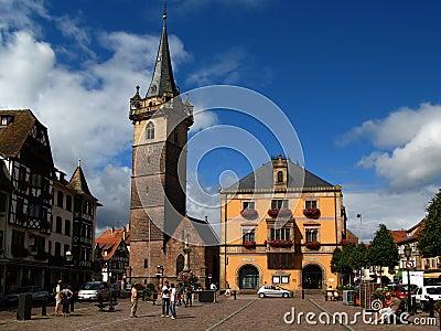 Obernai town center, Alsace, France