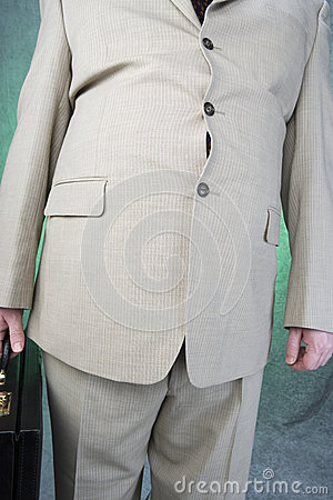 Obese Businessman Holding Briefcase