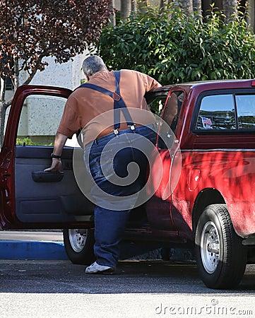 Obese chaufför