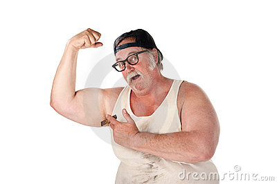Obese man flexing muscles in tee shirt