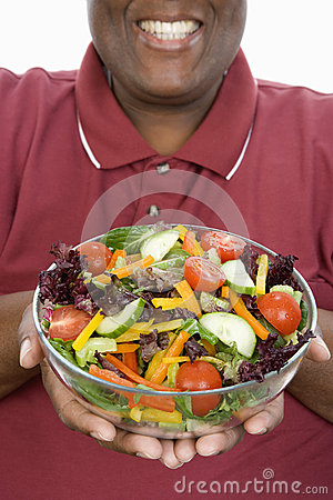 An Obese Man Holding Bowl Of Salad