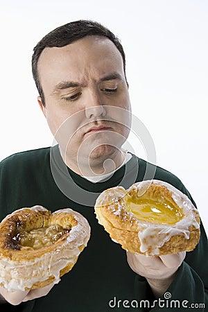 Obese Man Making A Choice