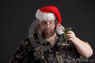 Obese man in Santa Hat