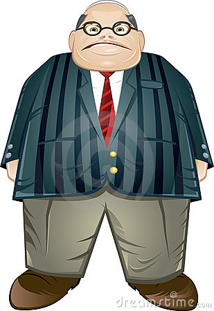 Obese middle aged businessman