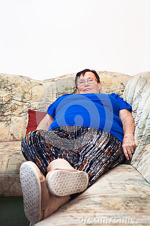 Obese retired woman