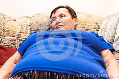 Obese senior woman