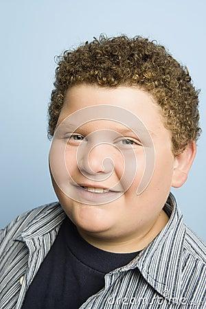 Obese Teenage Boy Smiling