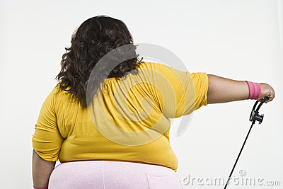 An Obese Woman Exercising