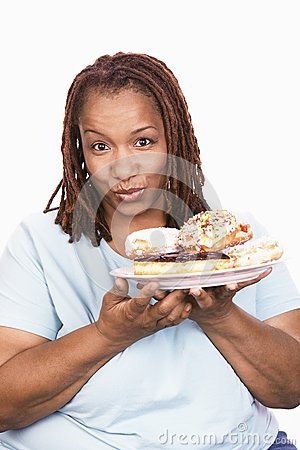 Obese Woman With Food Plate