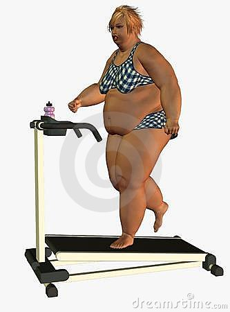 Obese woman on treadmill