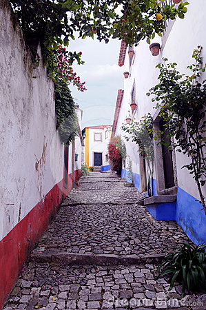 Obidos Alley - Slope and Narrow Street