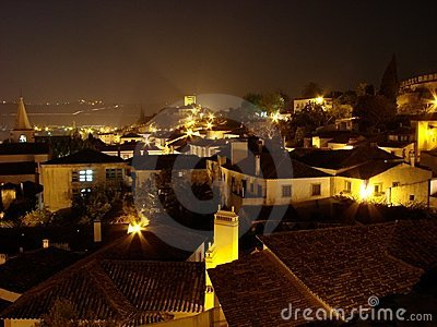 Obidos by night, Portugal