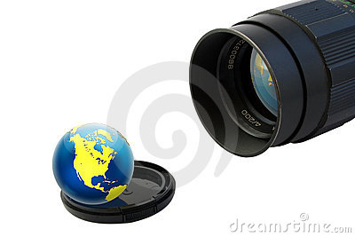 Objective and globe on lens cup