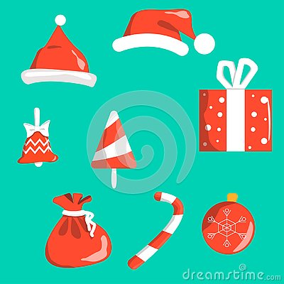 Objects christmas symbols red with white isolated on background. Santa s cap, bell, Christmas-tree decoration ball, gift Vector Illustration