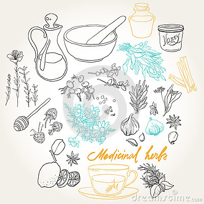 Objects and herbs to treat colds