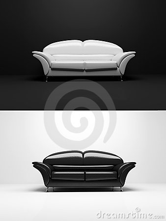 Objeto preto e branco do monochrome do sofá