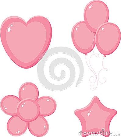 Objetos brillantes rosados de la diversión