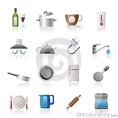 Objetos de la cocina e iconos de los accesorios imagenes - Objetos de cocina ...